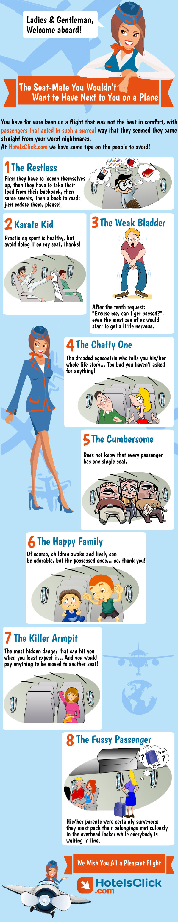 The worst airplane seatmates Infographic by Hotelsclick.com