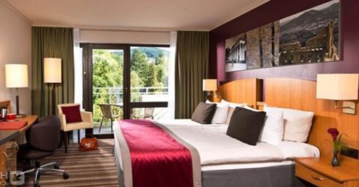 Una camera matrimoniale dell'Hotel Leonardo Royal Baden-Baden, Germania